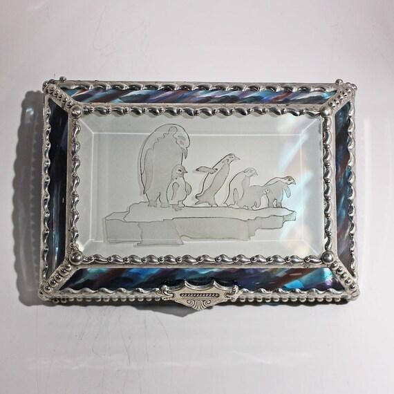Etched  Penquin - treasure Box