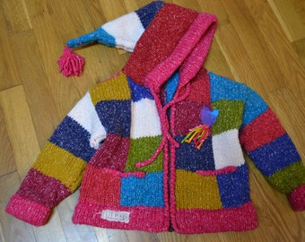 Upcycled....girls block knit sweater....multicolored....Free shipping....