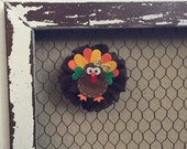 Thanksgiving TURKEY Hair Clip WITH BOW -Yellow, red, brown, orange and green hair clips, hair accessories thanksgiving