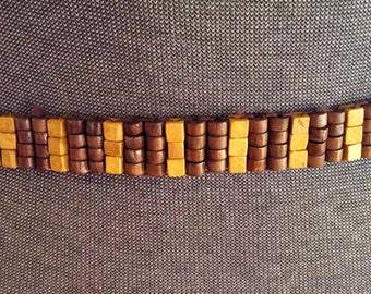 Beaded Wood belt hippy, boho