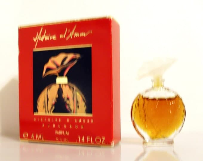 Vintage 1980s Histoire d'Amour by Aubusson 0.14 oz Parfum Mini Miniature and Box PERFUME