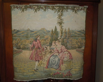 Antique Victorian Tapestry Made in Italy FREE Shipping