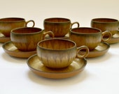 Set of Six Denby Romany Cups and Saucers