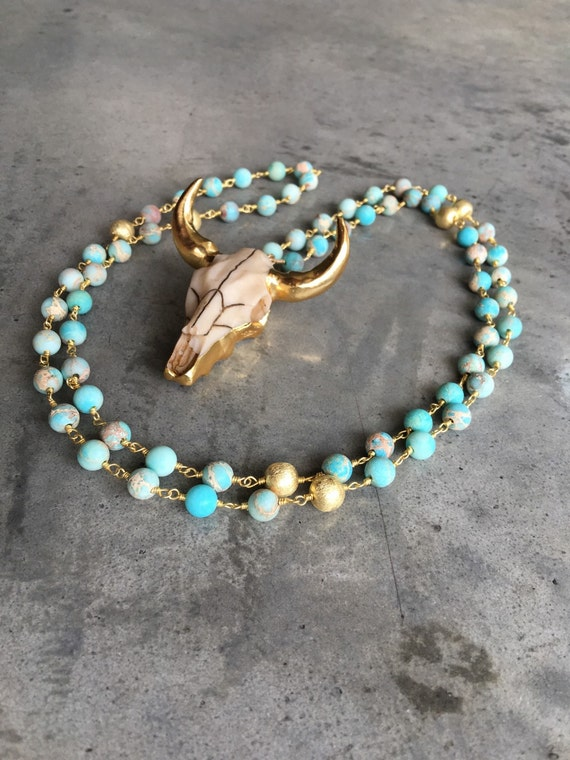 Long horn bull necklace, boho jewelry