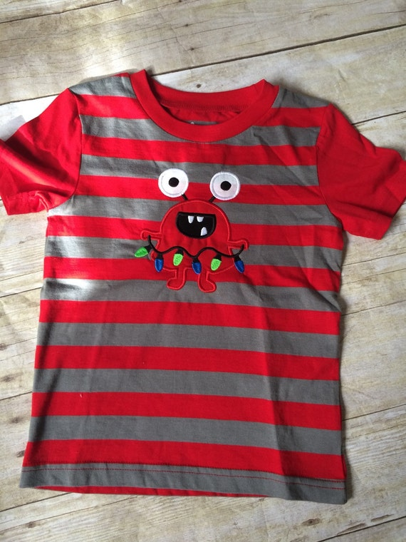 Sale ready to ship christmas monster boy 39 s monster for Applique shirts for sale