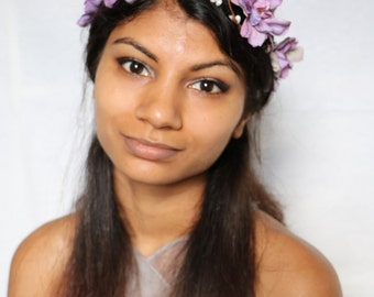Purple Boho summer floral hair crown hair wreath garland festivals hair accessories flower girl headband halo