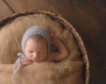Knit baby hat Mohair baby bonnet Newborn hat Newborn phtography prop  Classic bonnet Photo props Beige Gray newborn bonnet