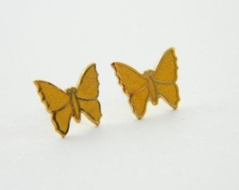 Yellow Enamel Butterfly Earrings