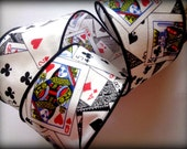 """Wired Poker Cotton Ribbon Trim, Playing Cards, Multicolor, 2 1/2"""" inch wide, 1 yard, For Mixed Media, Scrapbook, Home Decor, Accessories"""