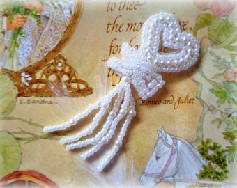 Bridal Pearl Heart with Fringe Applique, x 1, For Bridal, Apparel, Accessories, Costumes, Mixed Media, Romantic & Victorian Crafts
