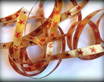 Golden Star Ribbon Trim, Red / Gold , 1/2 inch wide, For Home Decor, Costumes, Accessories, Apparel, Scrapbook, Mixed Media