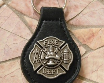Firefighter Keychain, Fireman Black Leather Key Fob,  Key Ring, Black Leather Key Chain Gift, Firefighter Mom Wife Girlfriend Dad Key Ring