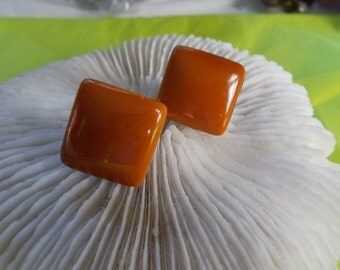 Vtg Clip On Earrings-Coffee Squares-C2478