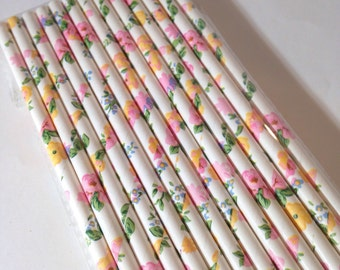 Floral party straws