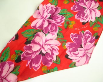 Vintage Echo Bright Red Floral Long Silk Scarf - Slim - Flower Scarves - Womens Accessories