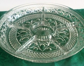 Vintage Round Glass Relish Tray, Divided Serving Dish, 6-section platter, vegetable tray pressed glass condiment plate, holiday serving dish