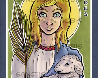 Saint Agnes Catholic Art Print, Saint Icon, Iconography, Confirmation Gift, Religious