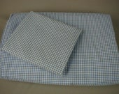 Vintage Sheet Set, Blue and White Gingham Checks, Twin Size, l Fitted Sheet, One Flat Sheet, One Pillowslip