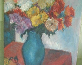 Vintage Original Oil Painting,  Naive Oil Painting, Bouquet of Flowers in Teal Blue Vase, Very Charming