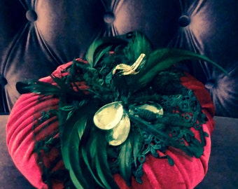 Parisian pumpkin. Red velvet pumpkin dressed in soft feathers, French vintage lace, chandler crystals  and black jet