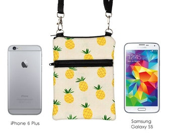 iPhone 7 Plus Zip Shoulder Bag, Galaxy S7, LG 4G Padded Case, Sony Z3 Phone Zipper Purse, Droid Razr Case with Straps - pineapple fruit