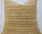 Mustard African mudcloth pillow cover