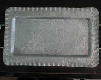 ALUMINUM TRAY Hand finished fruits flowers spiral handles scalloped ruffled edges