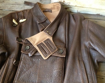 Leather Motorcyle Riding Jacket, Made in France, Rugged Chestnut Brown Leather Cashmere Bomber Motocross Mens