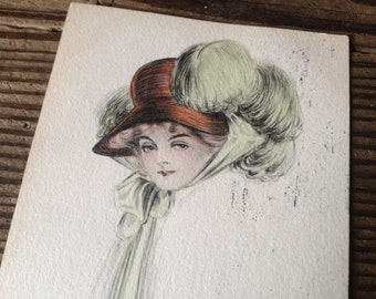 1910 Handpainted Postcard Edwardian Lady Girl Hat Signed Dated Framable Artwork