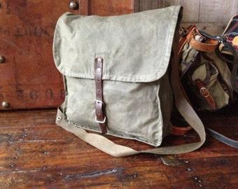 Canvas Leather Handbag Satchel Crossbody Messenger Artist Sketchbook Portfolio Case