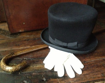 Black Fetlted Wool Top Hat White Gloves Topper Hat Magician Ring Master ~ England