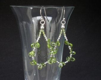 Natural Gemstone Peridot Faceted Teardrop Hoop Earrings 925 Sterling Silver, Peridot Dangle Earrings