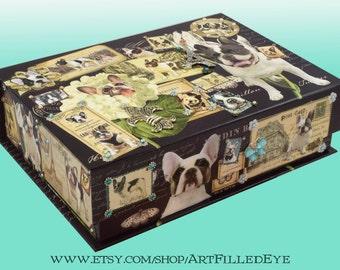 Embellished Decorative Box Decoupaged Black and White Pied French Bulldogs-Handmade-Jewelry-Memory-Keepsake-Custom-Memorial-Art-Artwork-Gift