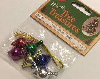 6 mini round drop ornaments, 1 inch (A15)