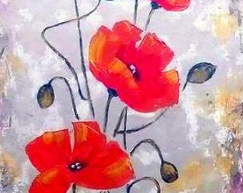 Original Poppies Painting Acrylic Abstract - Red Poppy - Poppies Painting Flowes Canvas Palette Knife - Metallic Colors - Ready To Hang