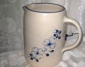 Large Marshall Pottery, Texas, Dogwood, Blue Rim Pitcher, 8 inches tall, Beverage Pitcher, Kitchen, flowers, blue design