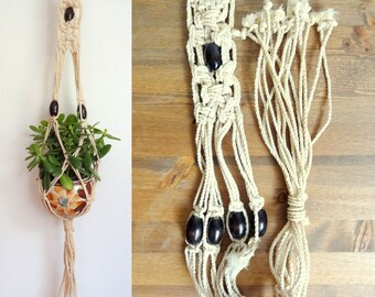 Small Vintage 1970s Cream Cotton Macrame Plant Hanger