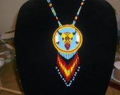 native american necklace, buffalo skull necklace