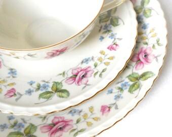vintage teacup trio german teacup porcelain teacups tea trio german teacup pink flowers shabby chic 819