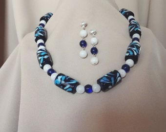 Free Shipping - Cobalt Blue Lampwork Glass and White Necklace And Earring Set