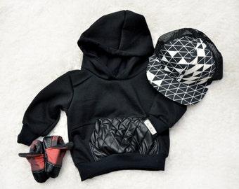 Black 7 oz Infant/Toddler Hoodie with Kangaroo Pocket and lined hood