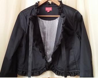 Elle Cropped Jacket. Ruffles. Womens Size Medium