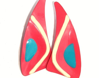 80s Vintage Avant Garde Modernistic Design Embossed Bright Pink Creme Turquoise Pierced Earrings