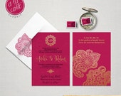 Indian Style Wedding Invitation in orange red Indian Arabic Henna decoration exotic wedding invitation Indian party gold hot pink fuchsia