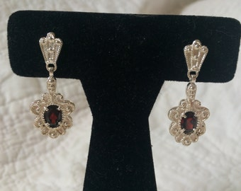 "Vintage 925 Sterling Silver Floral and Simulated Ruby Earrings, 1 1/2"" Long"