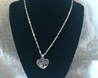 Vintage 925 Sterling Silver Israel Necklace with Sterling SIlver Heart Design Pendant, 18'' Long