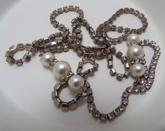 Vintage Signed Dauplaise Rhinestone and White Pearl Silvertone Long Necklace