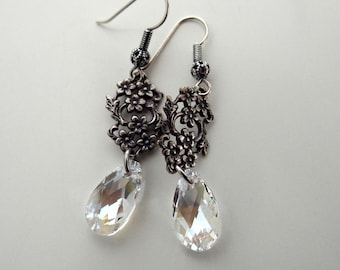 Floral Filigree Moonlight Faceted Swarovski Crystal Earrings Antique Silver