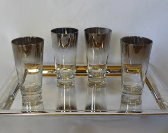 Vintage Silver Ombre Dorothy Thorpe Style Highball Glasses Mid-Century Tapered Tumbler Modern Retro Mad Men Barware Set of 4