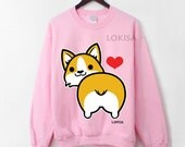 I love Corgi Butt Crewneck Sweatshirt - Sweetheart Pink